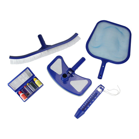5-Pieces Blue and White Premium Swimming Pool Cleaning Maintenance Set with Test Kit 18""