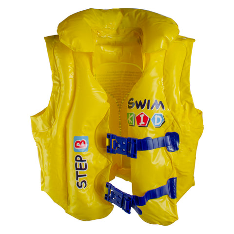 "18"" Yellow and Blue Swim Kid Step B Unisex Swimming Pool Training Vest"