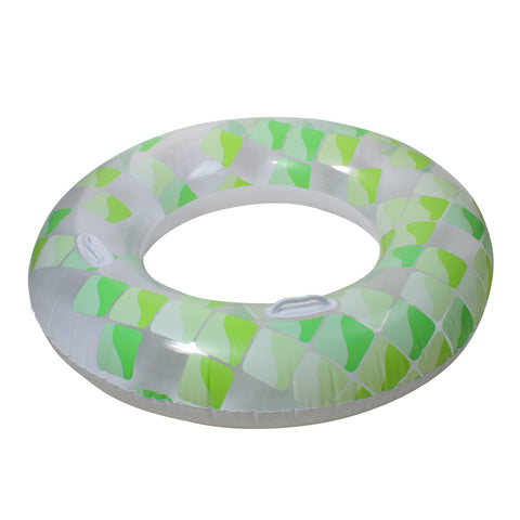 Inflatable Green and White Mosaic Swimming Pool Inner Tube Ring with Handles, 47-Inch