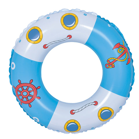 Inflatable Blue and White Boat Anchor Swimming Pool Ring Float, 30-Inch
