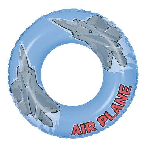 Inflatable Blue and Gray Airplane Swimming Pool Ring Float, 30-Inch