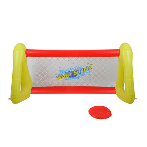 "51"" Inflatable Red and Yellow Swimming Pool Frisbee Game Set"