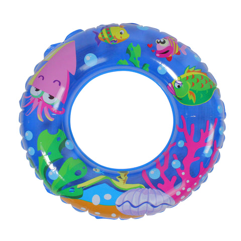 "24"" Inflatable Blue Sea Fish Children's Swimming Pool Inner Tube Ring Float"
