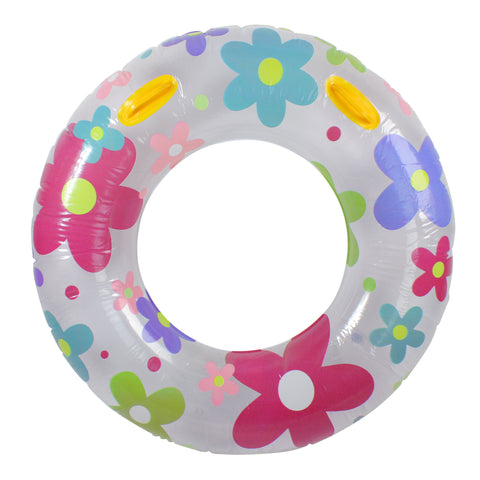"42"" Inflatable White and Pink Floral Swimming Pool Inner Tube"