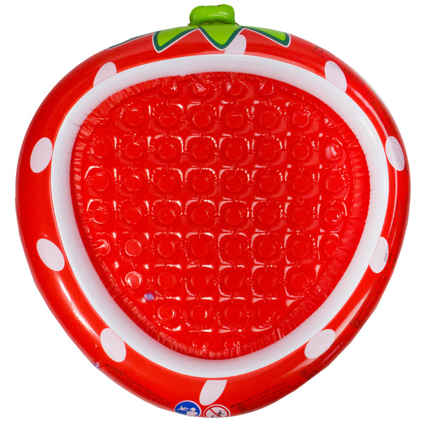 "37"" Inflatable Red Strawberry With Green Stem Kiddie Swimming Pool"