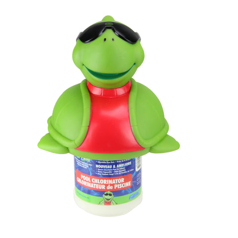 "11.5"" Green and Red Turtle with Sunglasses Floating Swimming Pool Chlorine Dispenser"
