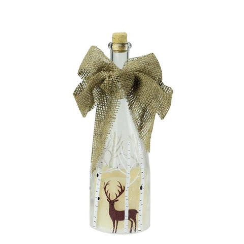 "10"" LED Flameless Pillar Candle in a Clear Glass Bottle Lantern with Deer Accents"