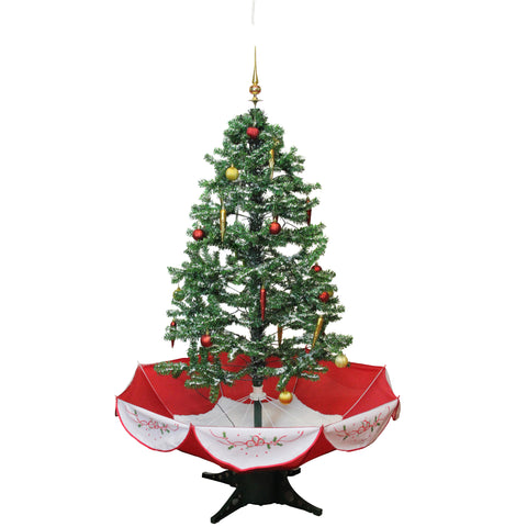 4.5' Pre-Lit Medium Musical Snowing Artificial Christmas Tree with Umbrella Base - Blue LED Lights