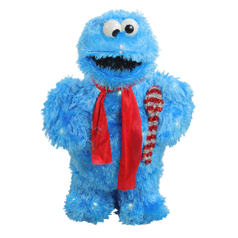 "18"" Pre-Lit Faux Fur Sesame Street Cookie Monster Christmas Outdoor - Clear Lights"