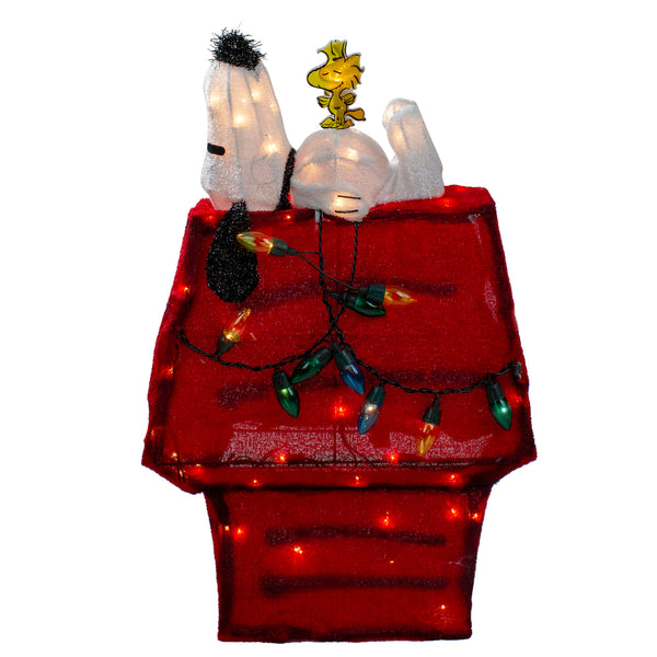 "26"" Red Pre Lit Peanuts Snoopy and Woodstock Dog House Christmas Yard Art Decor - Clear Lights"