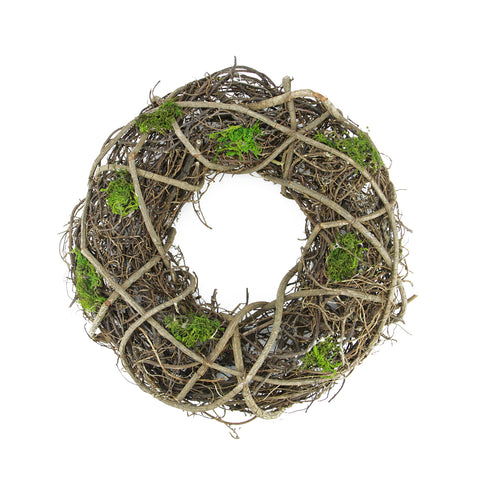 "33"" Green and Brown Moss and Twig Artificial Spring Wreath - Unlit"