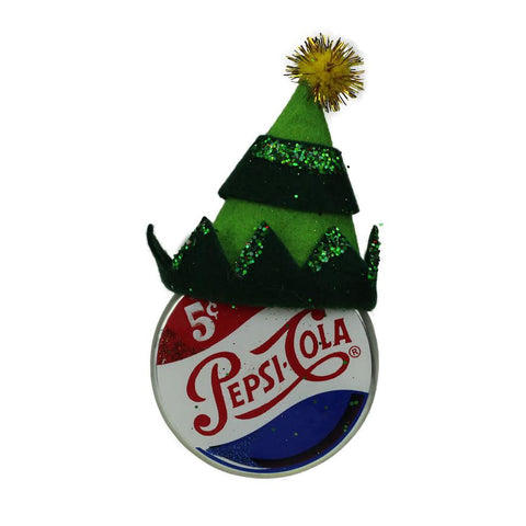 "Green and Gold Hat on Pepsi Logo Puck Shaped Glass Christmas Ornament 4.75"" (121mm)"