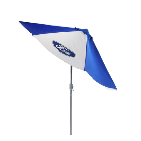 9' Outdoor Patio Ford Umbrella with Hand Crank and Tilt, Blue and White