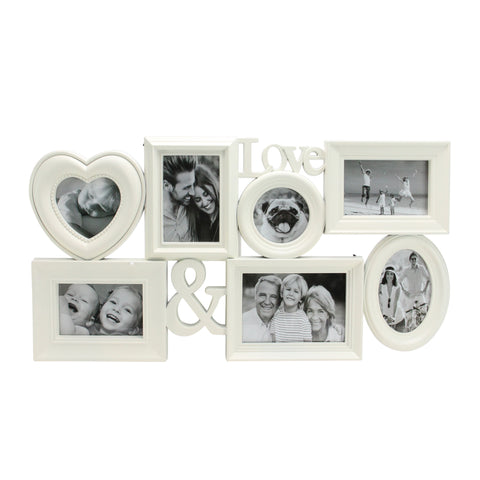 "26.5"" White Multi-Sized ""Love &"" Photo Picture Frame Collage"