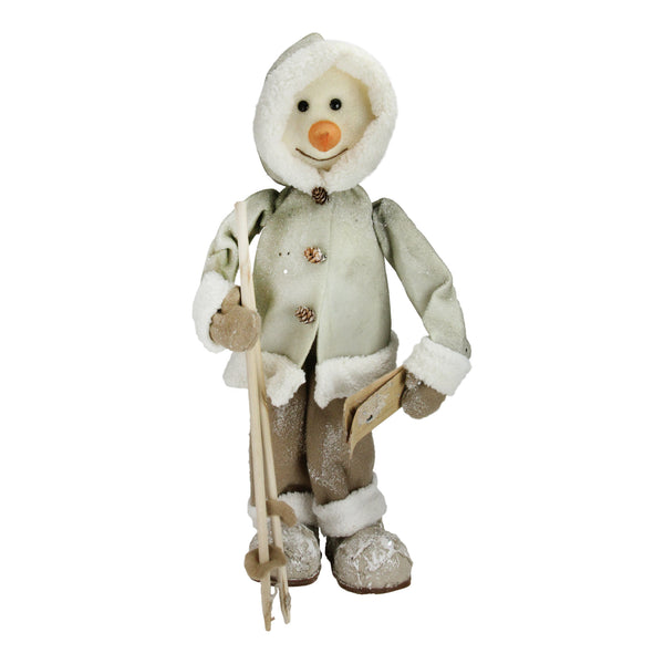 "21.5"" White and Brown Skiing Snowman Christmas Figure Decoration"