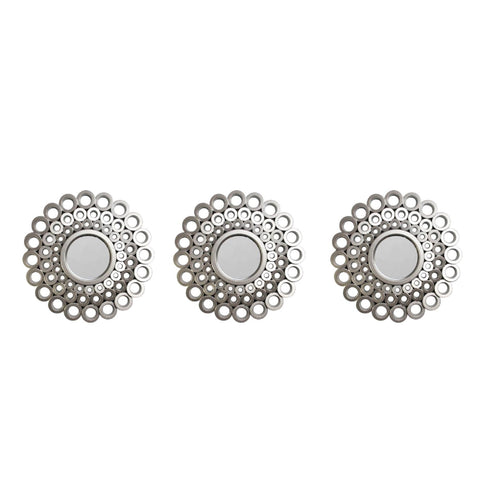 Set of 3 Round Silver Cascading Angular Orbs Mirrors 9.5""