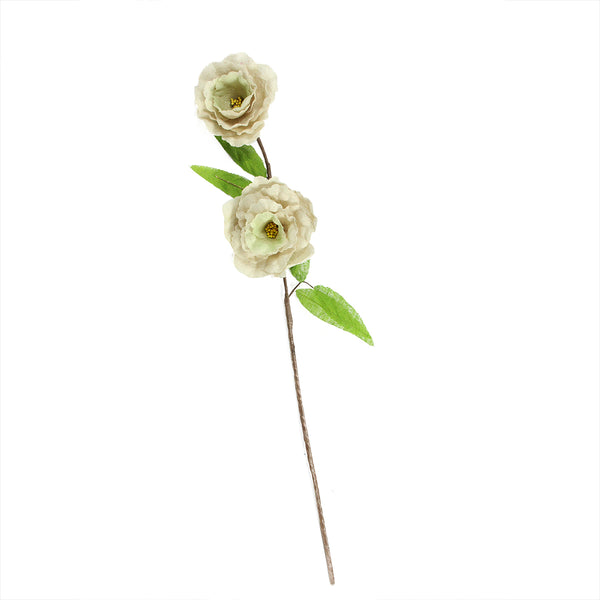 "40"" Ivory and Green Floral Craft Artificial Spring Spray"