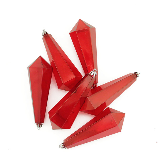 6ct Red Hot Transparent Shatterproof Diamond Shaped Icicle Christmas Ornaments 5.5""