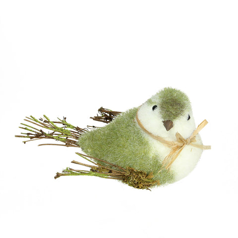 "8.25"" Green, White and Brown Decorative Spring Bird Table Top Figure"