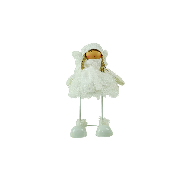 "24"" Snowy Woodlands Plush White Angel Bobble Girl Christmas Figure"