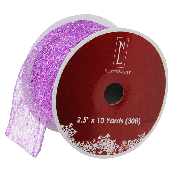 "Glittering Purple Solid Wired Christmas Craft Ribbon 2.5"" x 10 Yards"