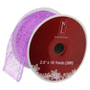"Glittering Purple Wired Christmas Craft Ribbon 2.5"" x 10 Yards"