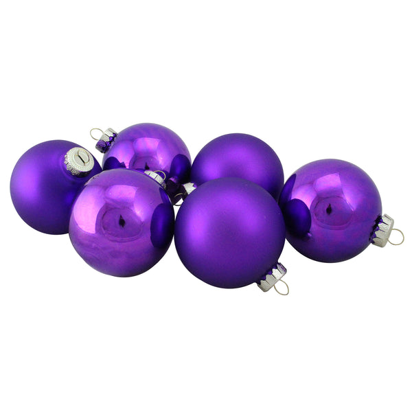 "6ct Purple Glass 2-Finish Christmas Ball Ornaments 3.25"" (80mm)"