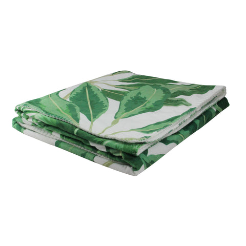"White and Green Tropical Leaves Plush Fleece Throw Blanket 50"" x 60"""