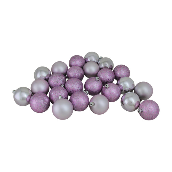 "24ct Lavender Purple Shatterproof 4-Finish Christmas Ball Ornaments 2.5"" (60mm)"