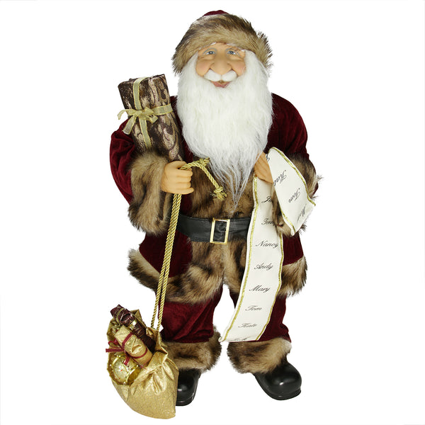"24"" Red and White Woodland Standing Santa Claus Christmas Figure with Name List"