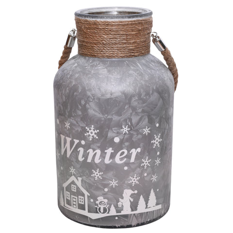 "12"" Silver and White Iced Winter Scene Christmas Pillar Candle Lantern with Handle"