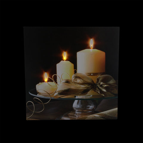 "12"" LED Lighted Candles with Ribbon on a Platter Canvas Wall Art"