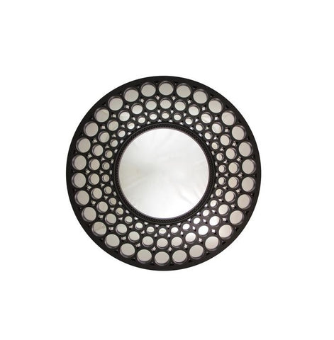 "24.75"" Glamorous Cascading Orbs Black Framed Round Wall Mirror"