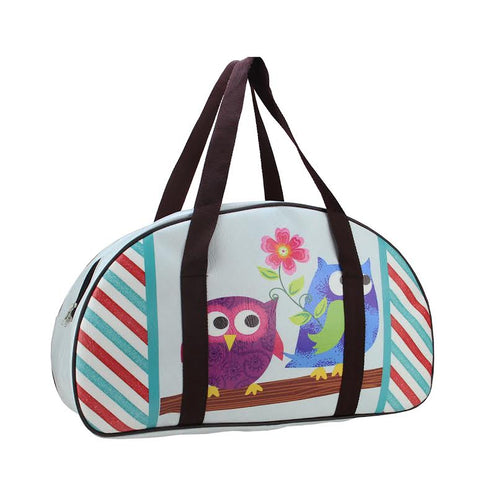 "20"" Decorative Owl Friends and Flower Design Travel Bag/Purse with Handles"