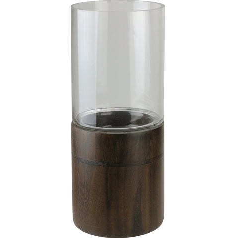 "15.25"" Clear Glass Hurricane Pillar Candle Holder with Wooden Base"