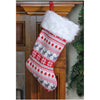 "16.5"" Red, Gray and White Tree, Deer and Snowflake Knit Christmas Stocking with Faux Fur Cuff"