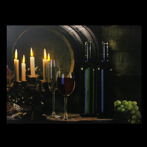 "15.75"" LED Lighted Flickering Wine and Candles Canvas Wall Art"