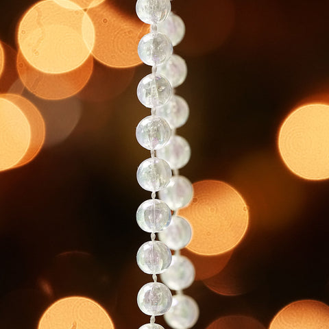 100' Christmas Traditions Clear Iridescent Beaded Christmas Garland - Commercial Length