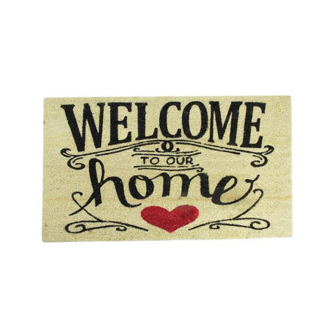 "Beige and Black ""WELCOME TO OUR home"" Summer Inspired Door Mat 30"" x 18"""