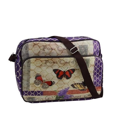 "15"" Decorative Vintage Style Purple Butterfly Garden Design Crossbody Bag/Purse with Strap"