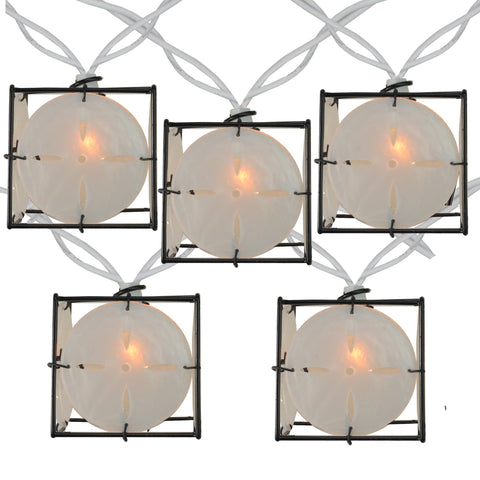 Set of 10 Pearlized White and Black Lantern Party Patio Christmas Lights - 7.5 ft White Wire