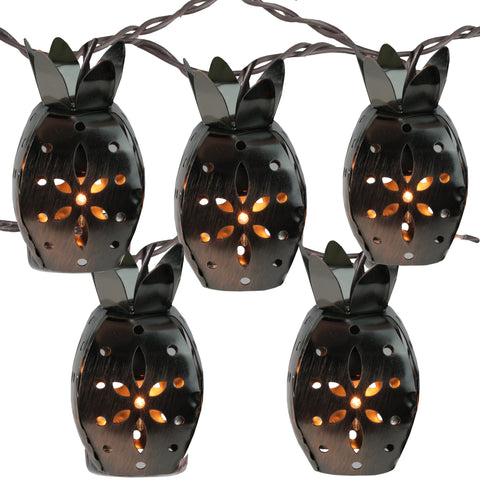 10 Pineapple Novelty Christmas Lights - 7.5 ft Brown Wire