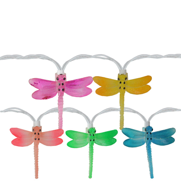 10-Count Dragonfly Summer Garden Outdoor Patio Lights, 7.25ft White Wire