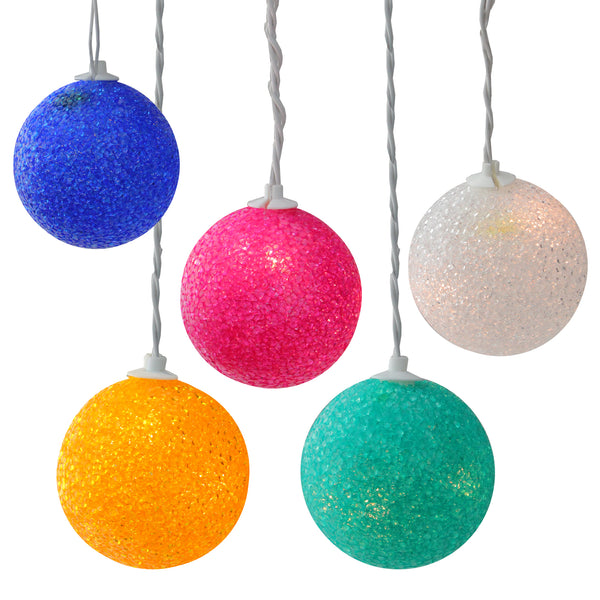 Set of 6 Multi-Colored Lighted Twinkling Sphere Party Patio Wedding Christmas Lights - White Wire
