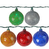 Set of 10 Multi-Color Glitter Swirled Ball Globe Patio Christmas Lights - 7.5 ft Green Wire