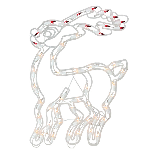 "17.5"" Clear & Red Lighted Reindeer Christmas Window Silhouette Decoration"