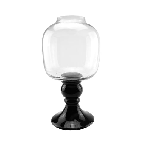 "17.75"" Transparent and Jet Black Glass Pedestal Pillar Candle Holder"