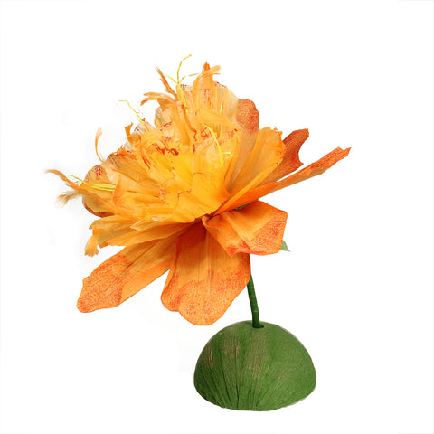 "26"" Orange and Green Spring Floral Artificial Craft Stem"