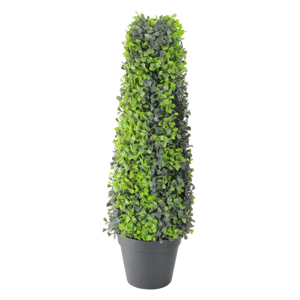 "25"" Green and Black Potted Two-Tone Boxwood Cone Artificial Topiary Tree"