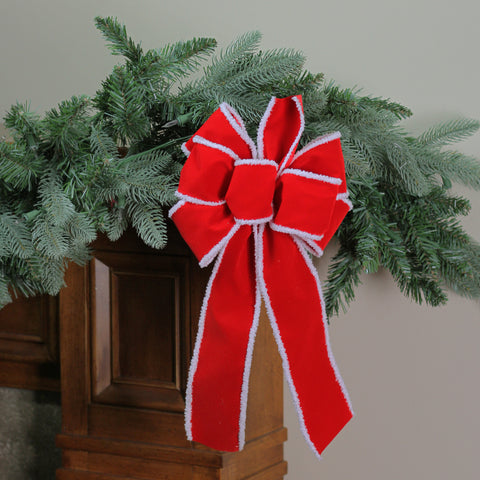 "8"" x 16"" Velveteen Red 6 Loop Bow with White Edges Christmas Decoration"